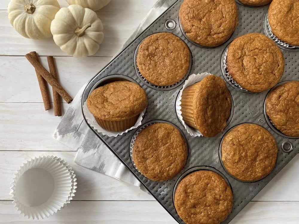 wholegrain pumpkin spice muffins