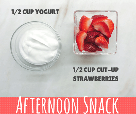 afternoon snack consisting of 1/2 cup plain yogurt and 1/2 cup cut up strawberries