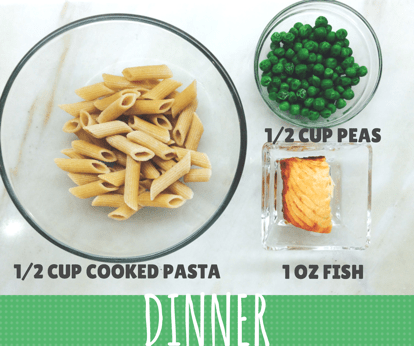 dinner example showing 1/2 cup cooked pasta, 1/2 cup cooked peas and 1 ounce of cooked fish