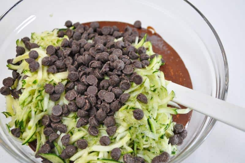 folding ingredients together for flourless chocolate zucchini muffins