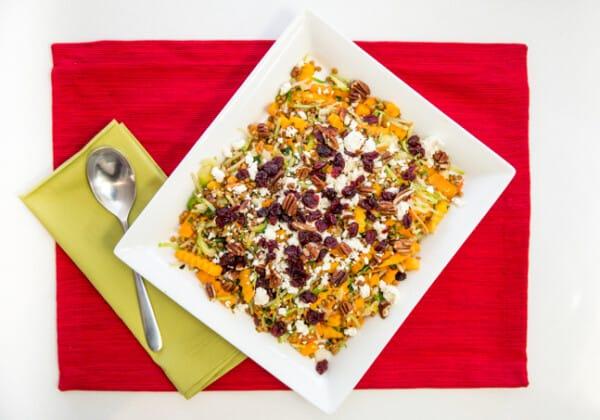 Easy Warm Butternut Squash, Lentil and Cranberry Salad