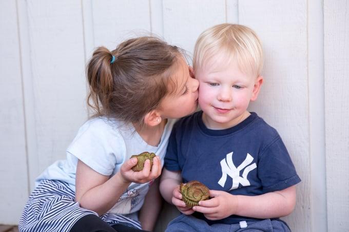 kids enjoying green monster blender muffins