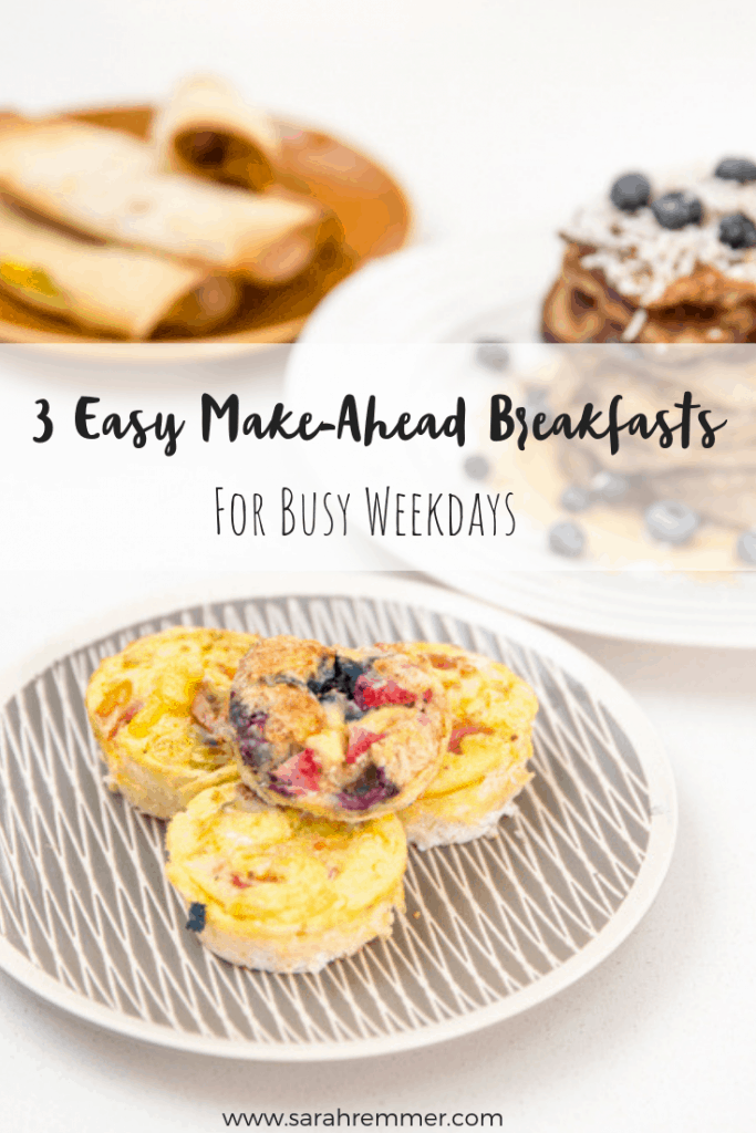 Pinterest pin for 3 Healthy Make-Ahead Breakfast Recipes for Kids