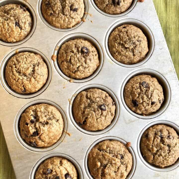 One-Bowl Whole Grain Banana Chocolate Chip Muffins