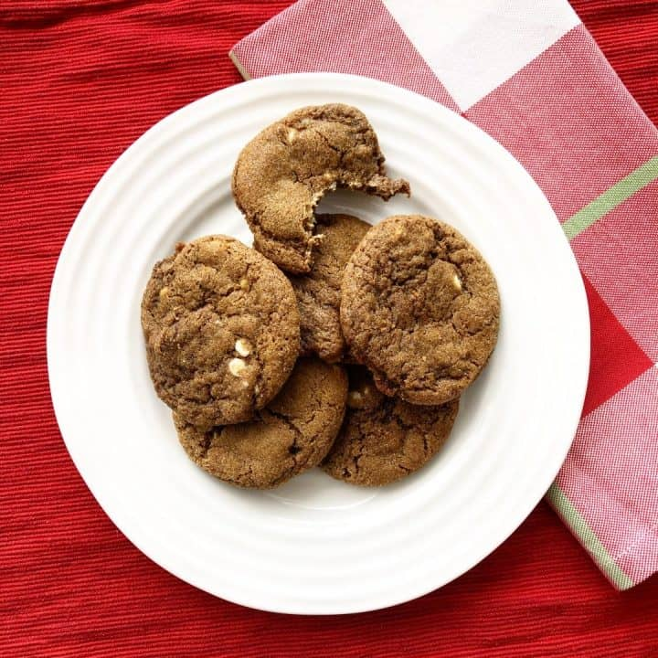 Chewy Triple Ginger White Chocolate Cookies