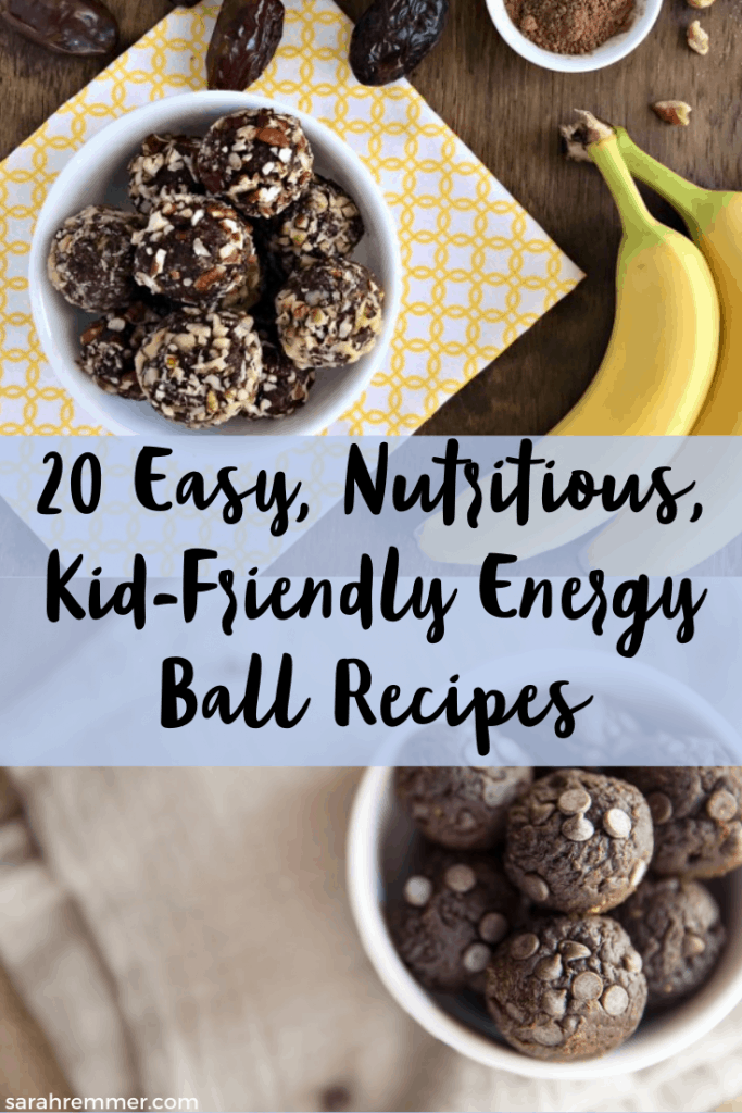 pinterest pin for 20 easy and healthy energy balls recipes for kids