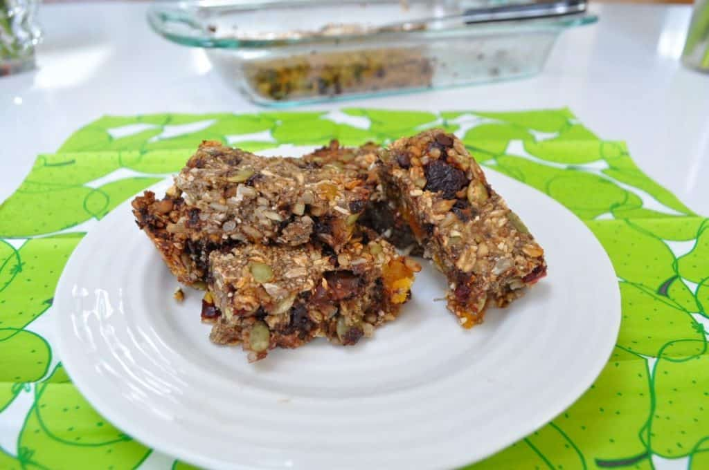 granola bars on plate