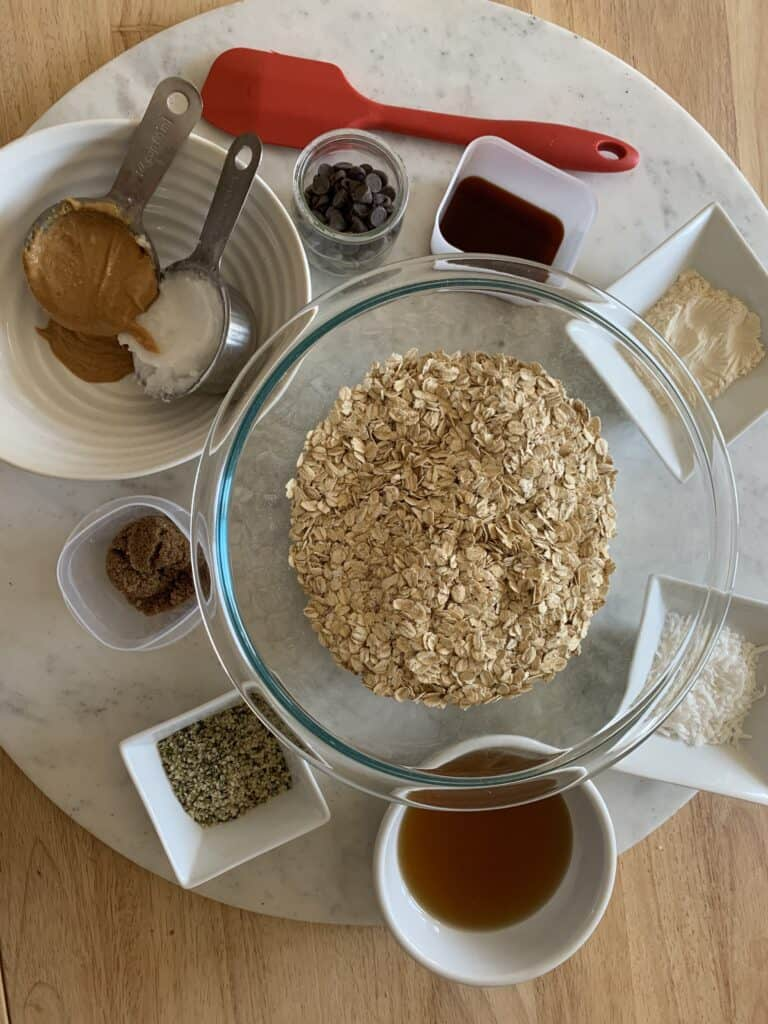 ingredients for homemade peanut butter granola