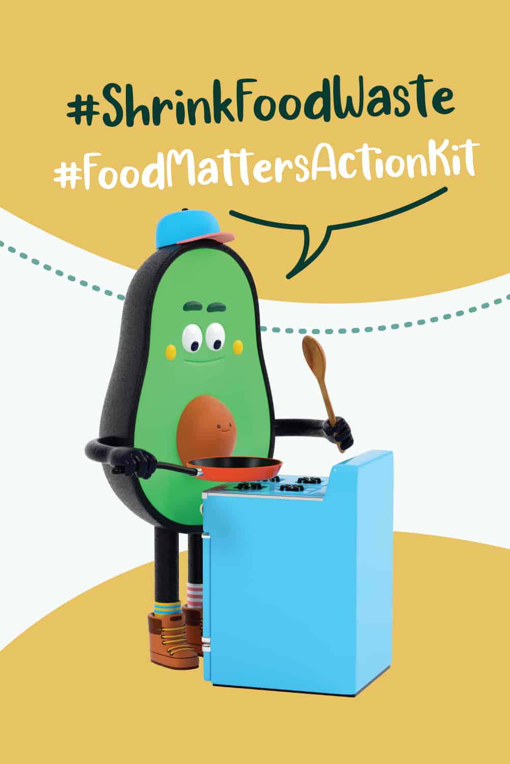 Pinterest pin for shrink food waste initiative and food matters action kit