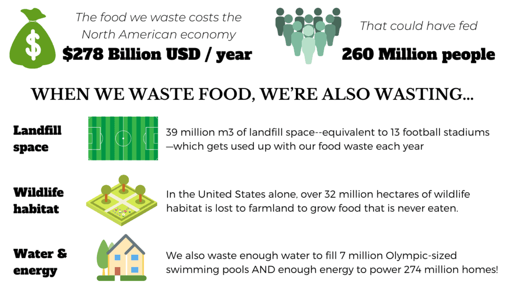 infographic showing the statistics for North American food waste