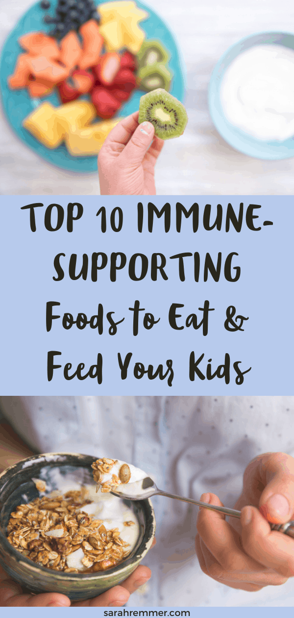 Pinterest pin for immune supporting foods for kids