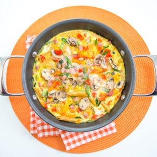 Easy weeknight Pasta, Ham and Veggie Frittata