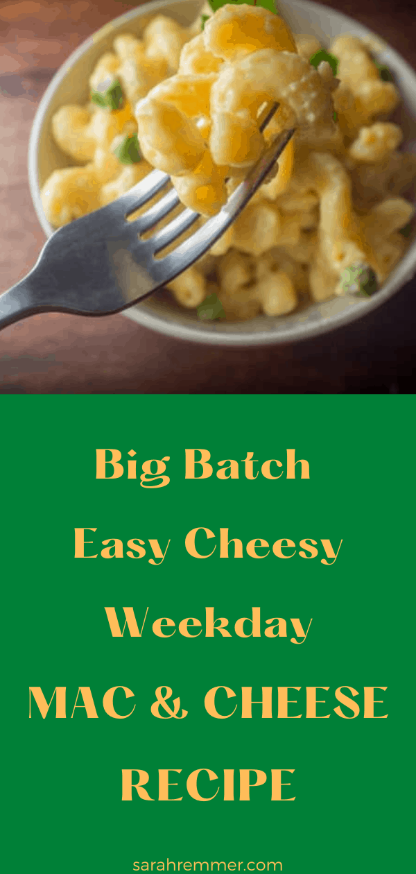 pin for easy and cheese weekday mac and cheese recipe