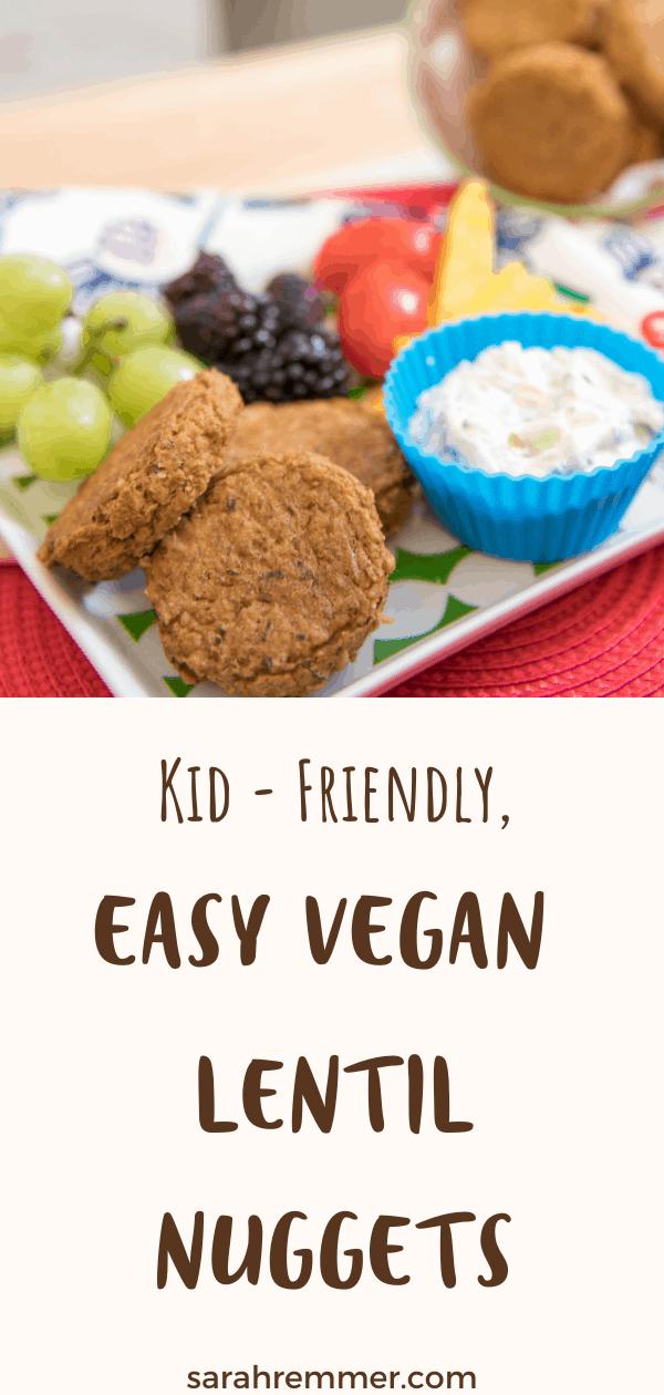 pinterest pin for vegan lentil nuggets recipe for kids