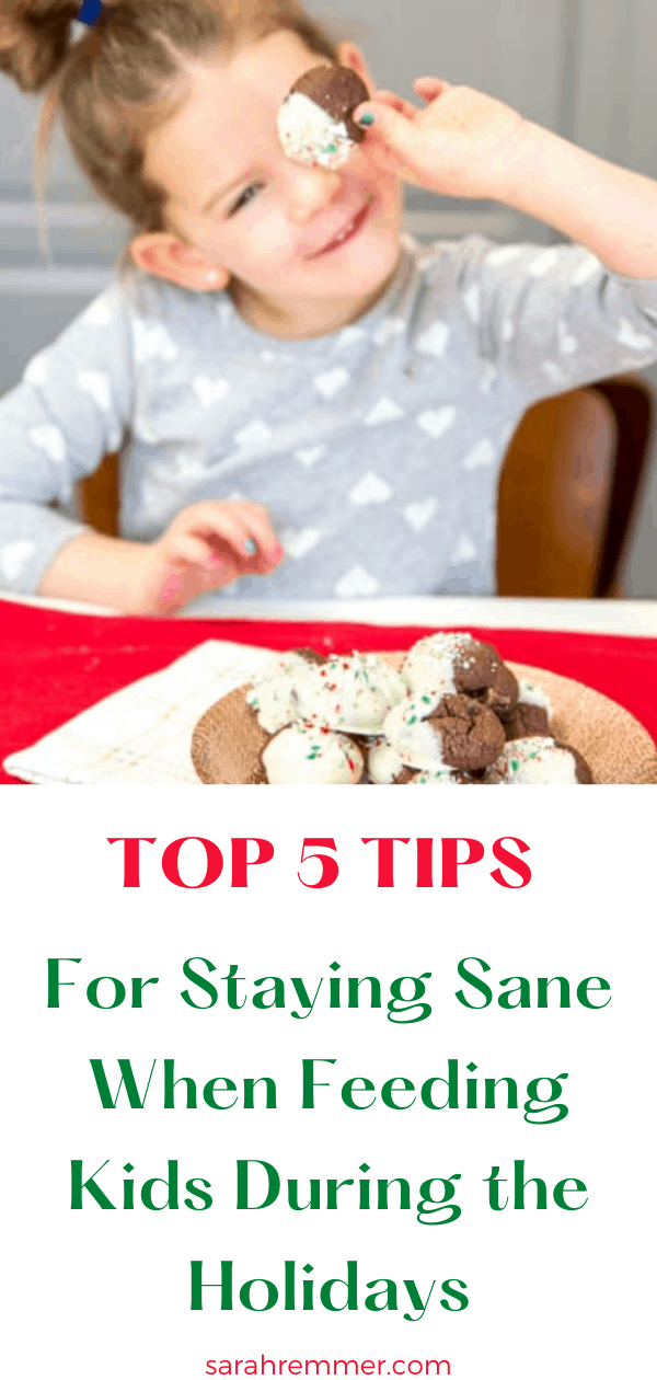 pinterest pin for top 5 tips for staying sane when feeding kids during the holidays