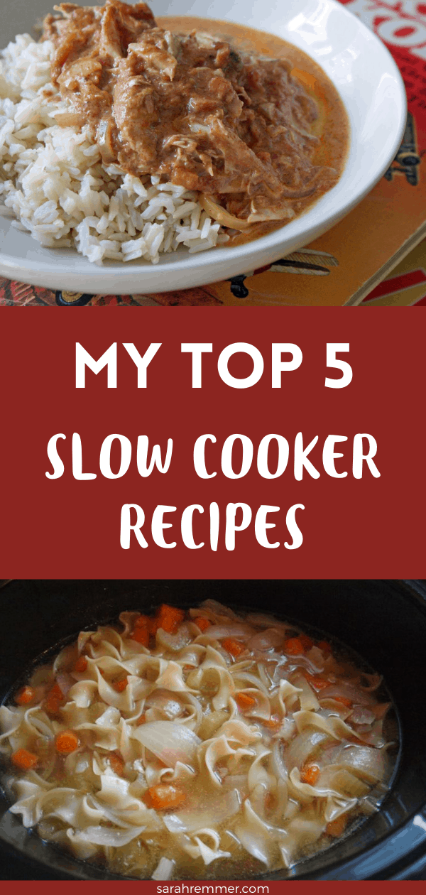 pinterest pin for top 5 slow cooker recipes