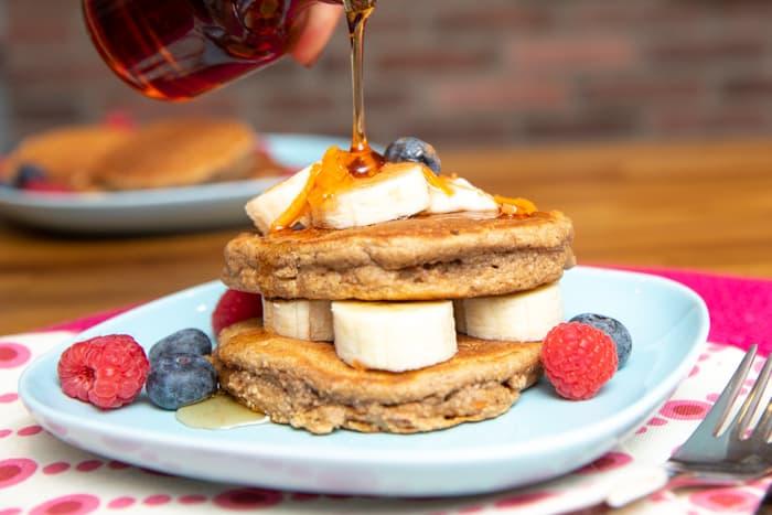 stack of vegan carrot cake pancakes