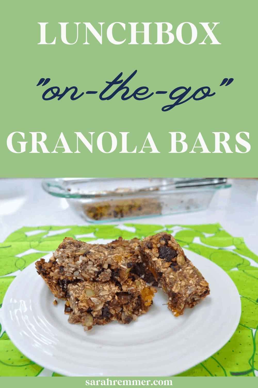 pinterest pin for lunchbox granola bars recipes