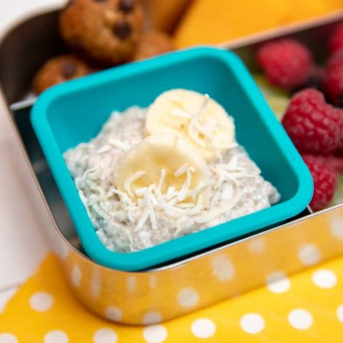 banana coconut chia pudding as part of a snack in lunch box
