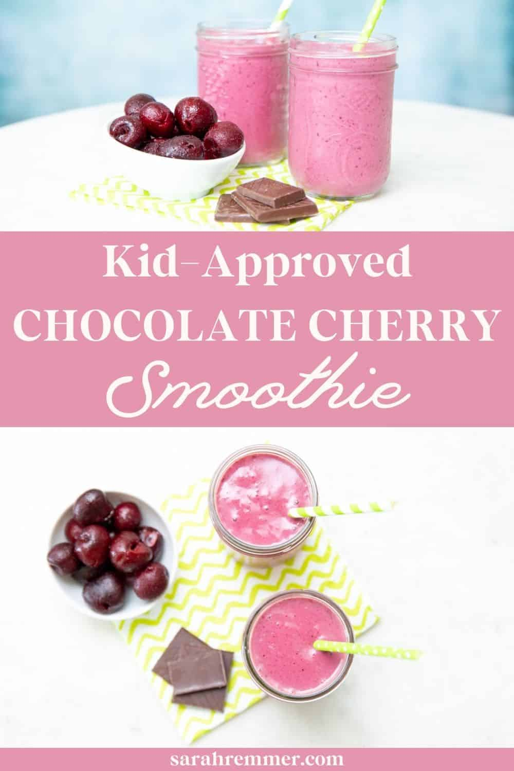 This Chocolate Cherry Smoothie is healthy, delicious, vegan-friendly and kid-approved! It is made with 6 simple ingredients and is loaded with naturally sweet and tart flavors as well as  nutrition!