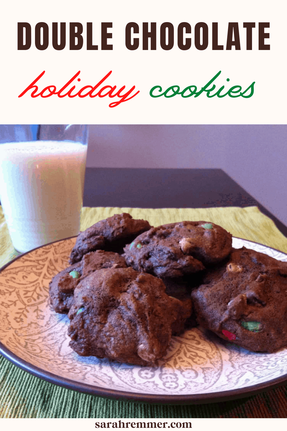 These double chocolate holiday cookies are perfect if you are anything like me and have limited holiday baking time! They are simple to make and delicious!