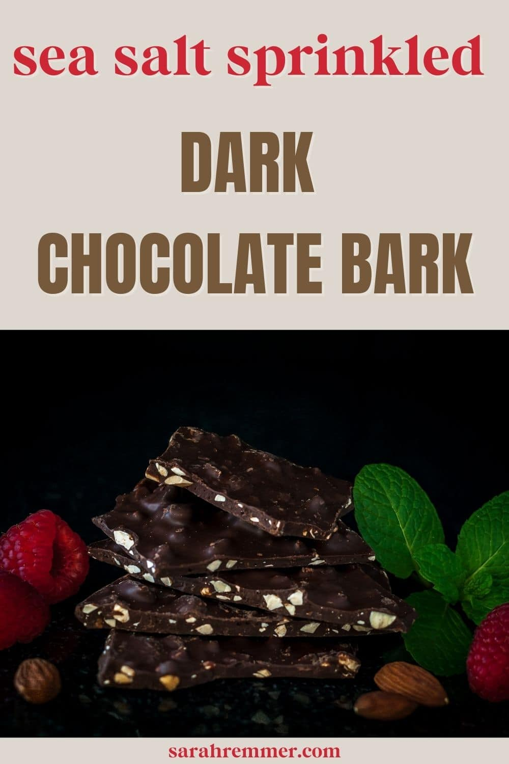If you're a chocolate-lover like me, you're going to love this recipe for sea salt sprinkled dark chocolate bark. Sea salt is a must here because it really brings out the chocolate on a whole other level.