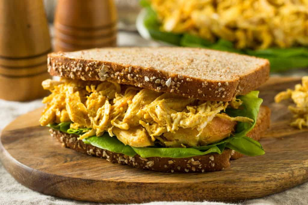 Homemade Curried Coronation Chicken with Lettuce Ready to Eat