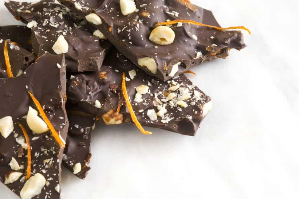 sea salt dark chocolate bark with nuts and dried citrus peel