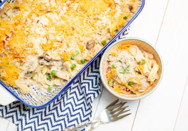 tuna noodle casserole in a dish