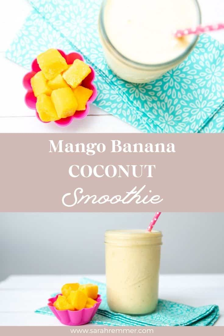 This Mango Banana Coconut Smoothie is delicious, nutritious, balanced, kid-friendly, easy summer breakfast, lunch or snack option!