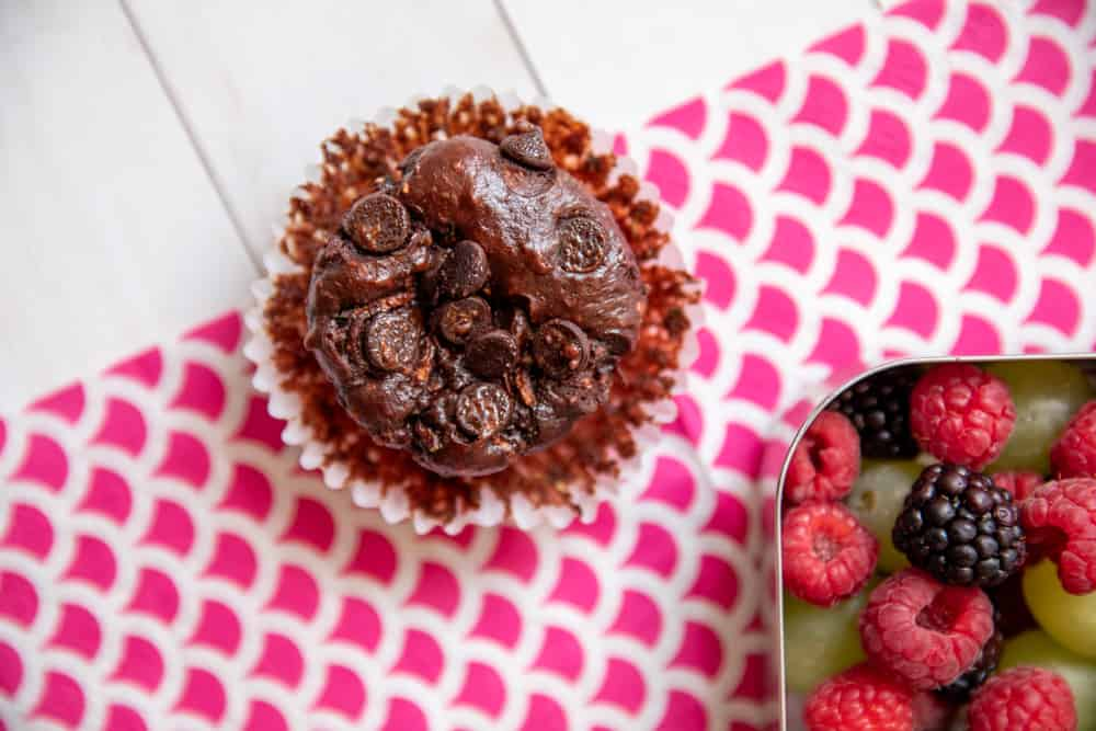 chocolate chip zucchini muffins that are gluten free and perfect for lunch boxes