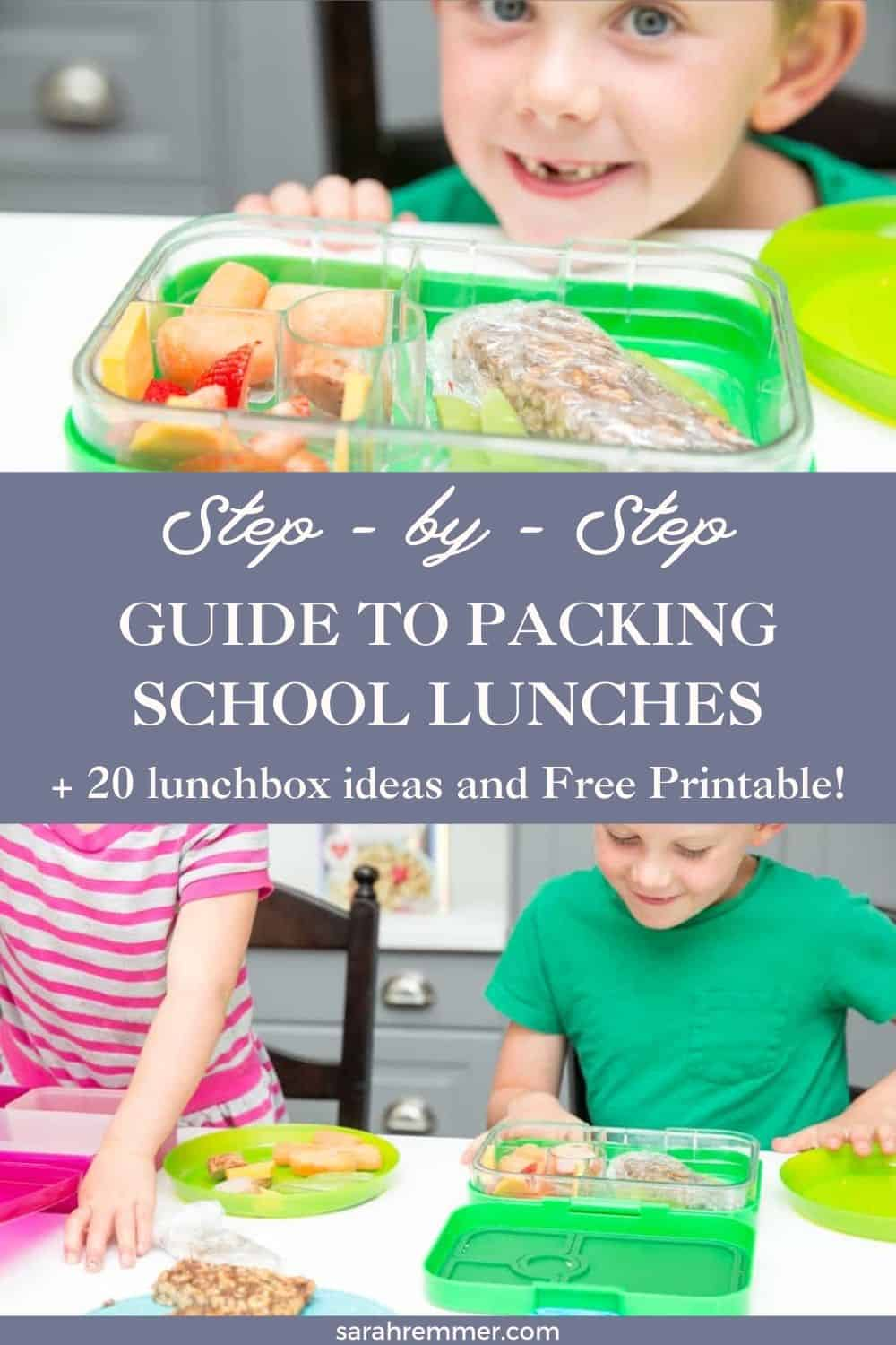 Anxious about packing school lunches? Don't be. Here's a step-by-step guide, plus a free printable with 20 healthy lunchbox ideas!