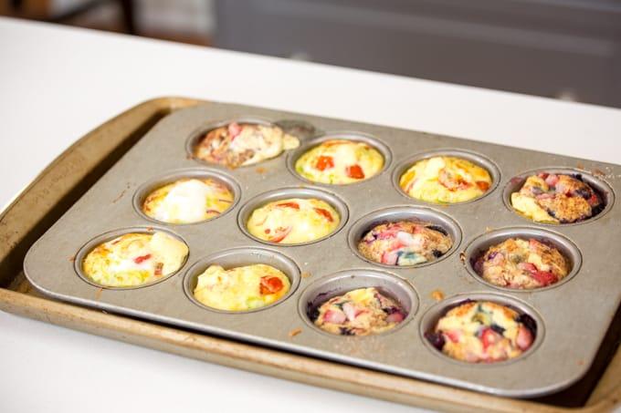 egg bites in a muffin tin