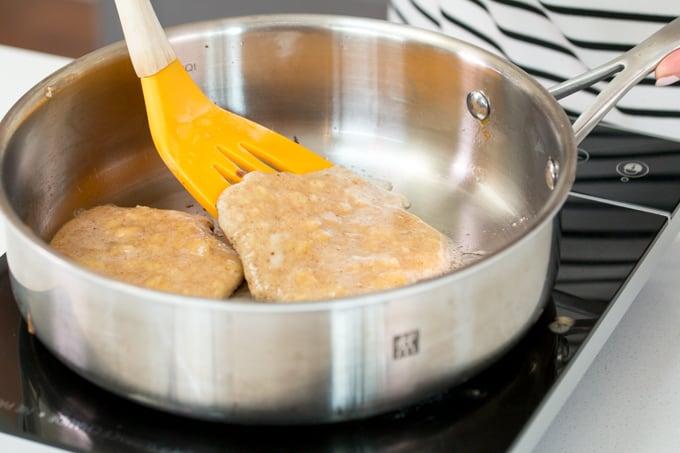 pancakes cooking in pan